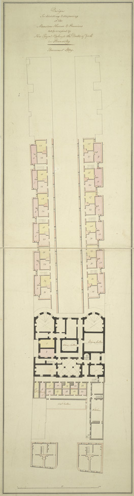 Design for dividing & disposing of the mansion house & premises lately occupied by His Royal Highness the Duke of York in Piccadilly. Basement story